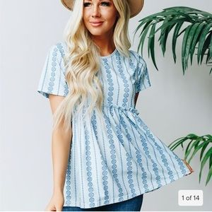 Tops - The NLife Short Sleeve Floral Blouse